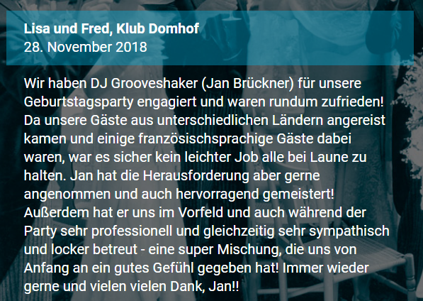 Rezension Event-DJ Grooveshaker